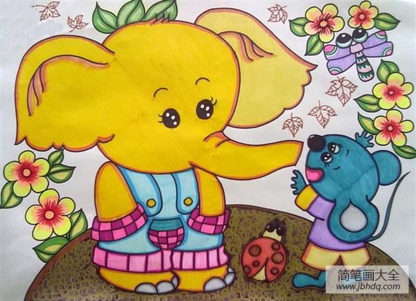 儿童画大象和老鼠