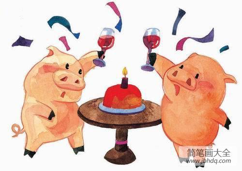 儿童画庆祝的小猪