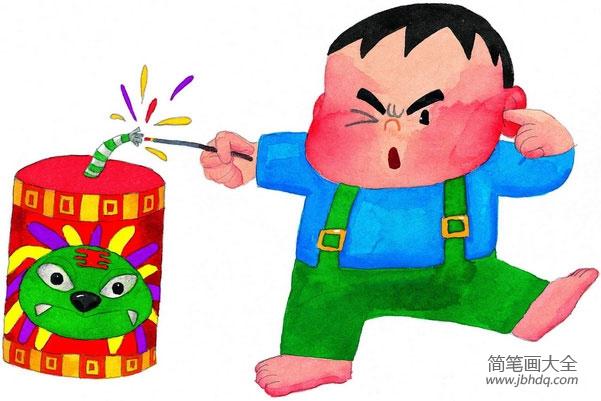 儿童画噼里啪啦放鞭炮