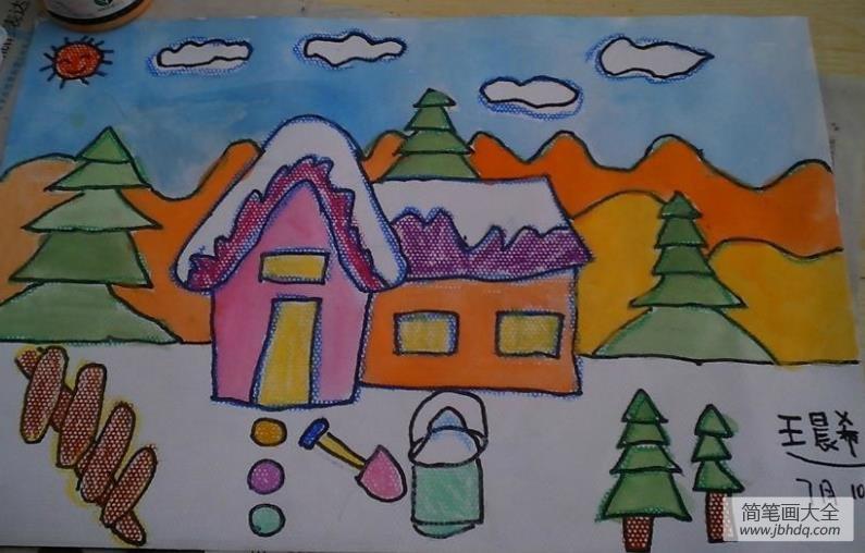 儿童画画学习|儿童画,冰天雪地