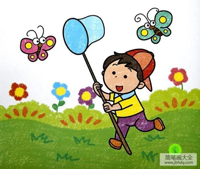 捉蝴蝶的小男孩