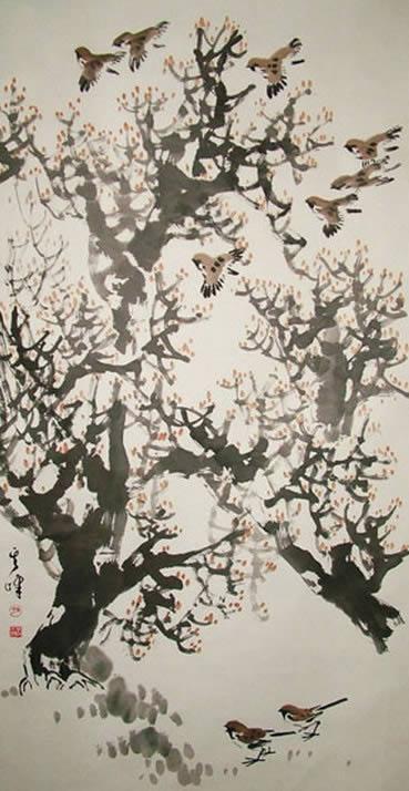 鸟语花香的意思 鸟语花香 儿童国画 百人简笔画 儿童简笔画图片