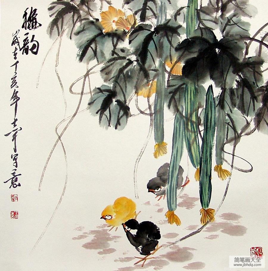 【国画丝瓜】国画-丝瓜 - 儿童国画 - 百人简笔画|简图片
