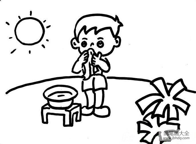 儿童学画人物 洗脸