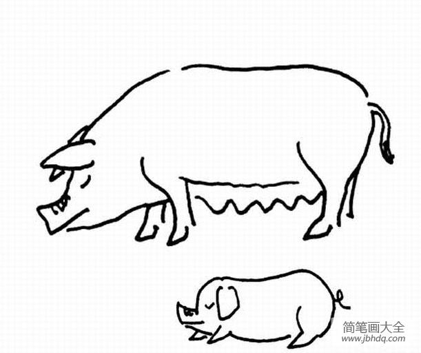 猪妈妈和小猪简笔画