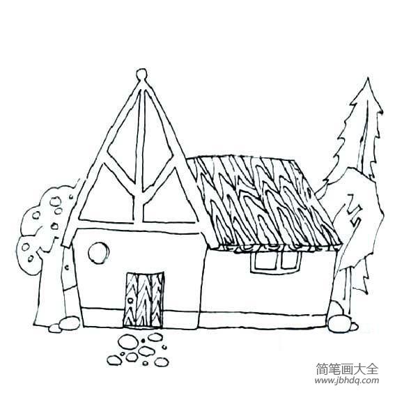 嫦娥简笔画简单又漂亮|儿童建筑简笔画,漂亮的房子