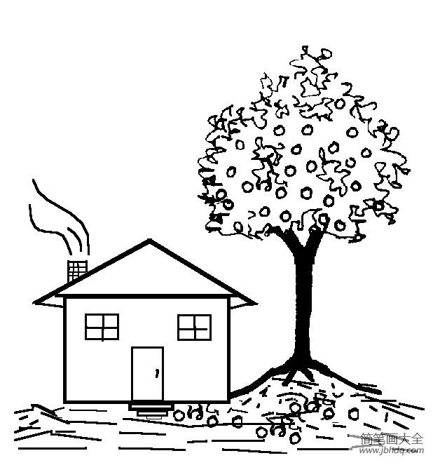幼儿建筑简笔画 树下的房子