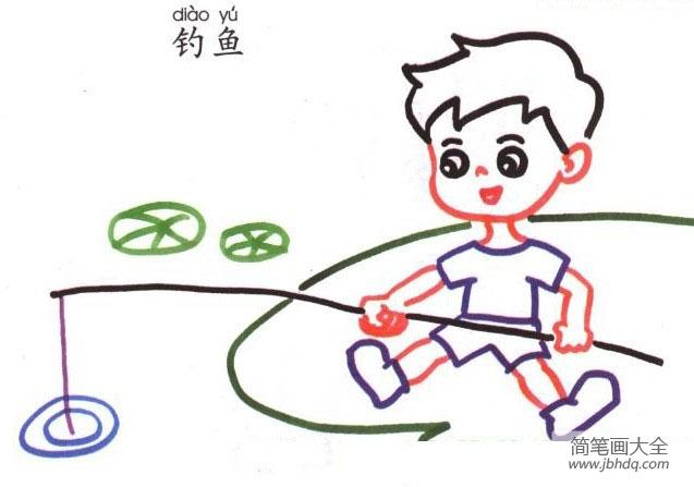 钓鱼的小男孩简笔画