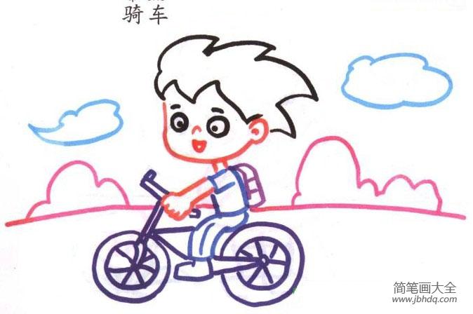 小男孩骑车简笔画