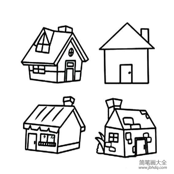 小房子简笔画彩色 几款简单的小房子简笔画 儿童水墨画 百人简笔画 儿童