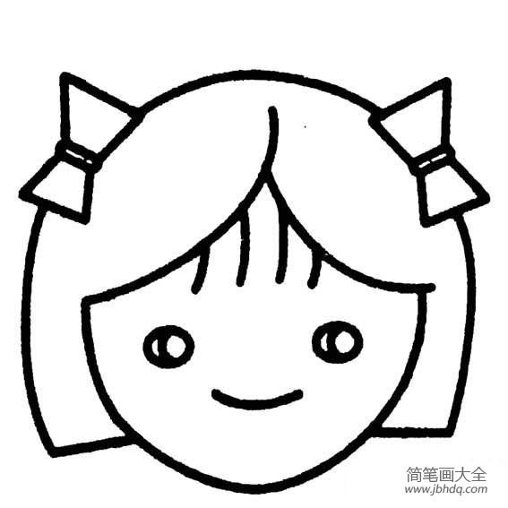 卡通简笔头像|小女孩头像简笔画图片