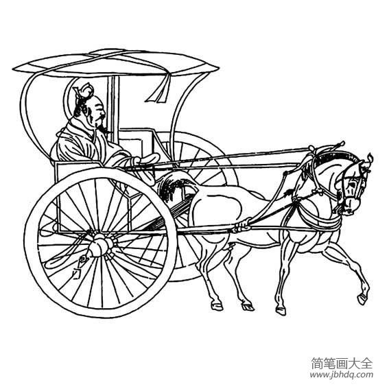 [南瓜马车简笔画]中国古代马车简笔画