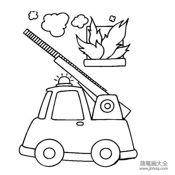 消防车简笔画图片大全_儿童消防车简笔画图片