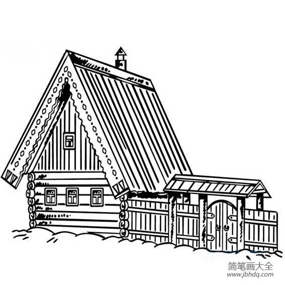 [木头简笔画图片]木头房子简笔画