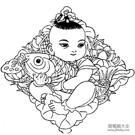 年画娃娃图片简笔画|儿童年画简笔画