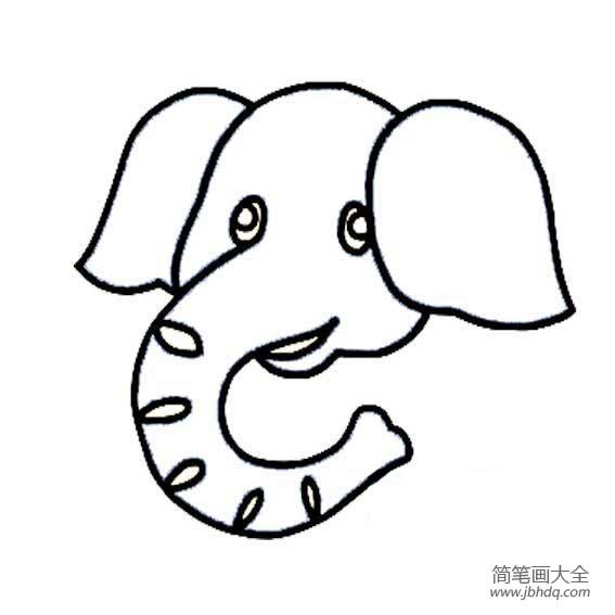 一笔画大象图片大全 大象头像一笔画 大象简笔画 百人简笔画 儿童简笔画图片