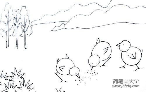 【简笔画月饼画法】雏鸡的简笔画画法