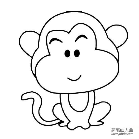 猴子拿桃子的简笔画