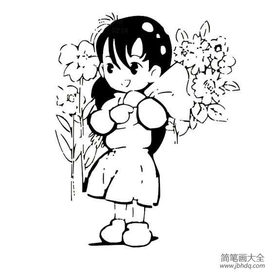 【六一简笔画图片大全】庆祝六一小女孩简笔画图片