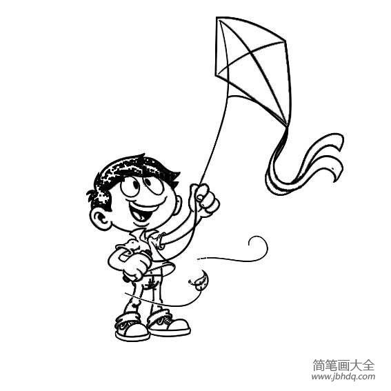 春天简笔画素材,放风筝的小男孩