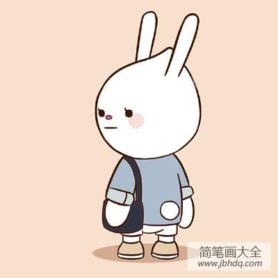 小朋友背书包简笔画_背书包的小兔子简笔画