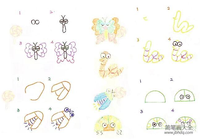 昆虫简笔画图片大全彩色|幼儿昆虫简笔画大全
