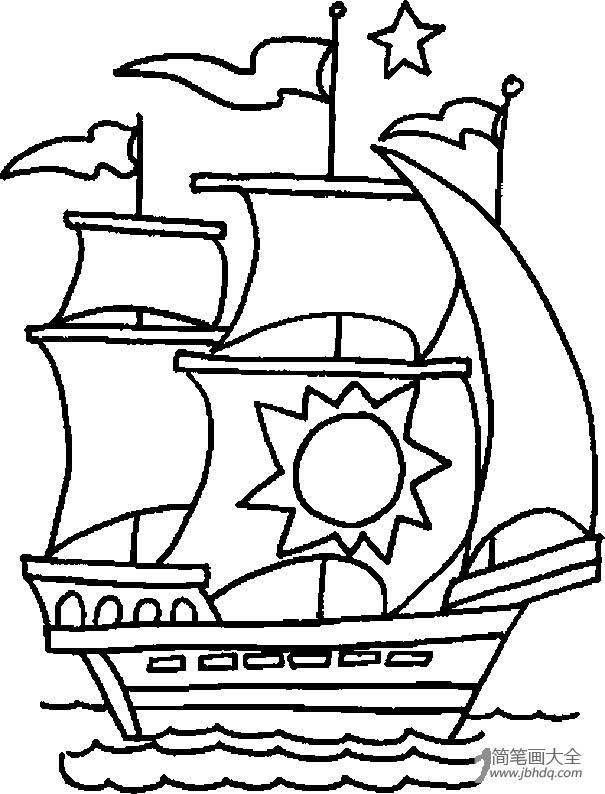 【中秋节图片大全简笔画】海盗船简笔画图片大全