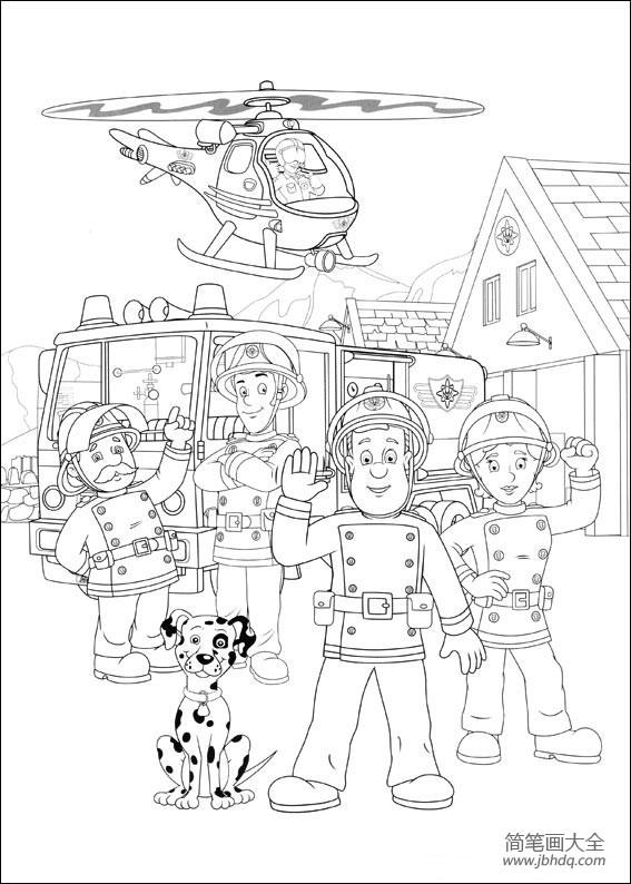 消防员简笔画图片大全带颜色_消防员山姆简笔画图片大全