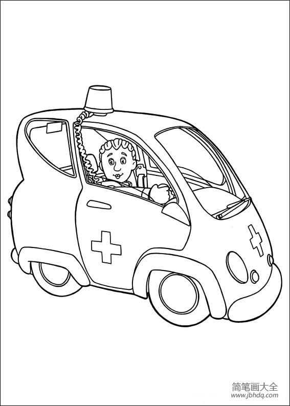 救护车简笔画图片大全_救护车与救护人员简笔画