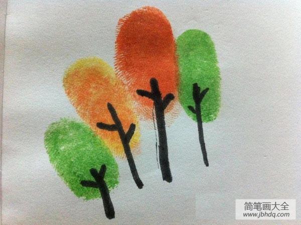 怎么画大树的简单画法|大树手指画画法