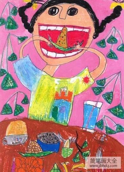 端午节为什么要吃粽子呢|端午节儿童画,吃粽子