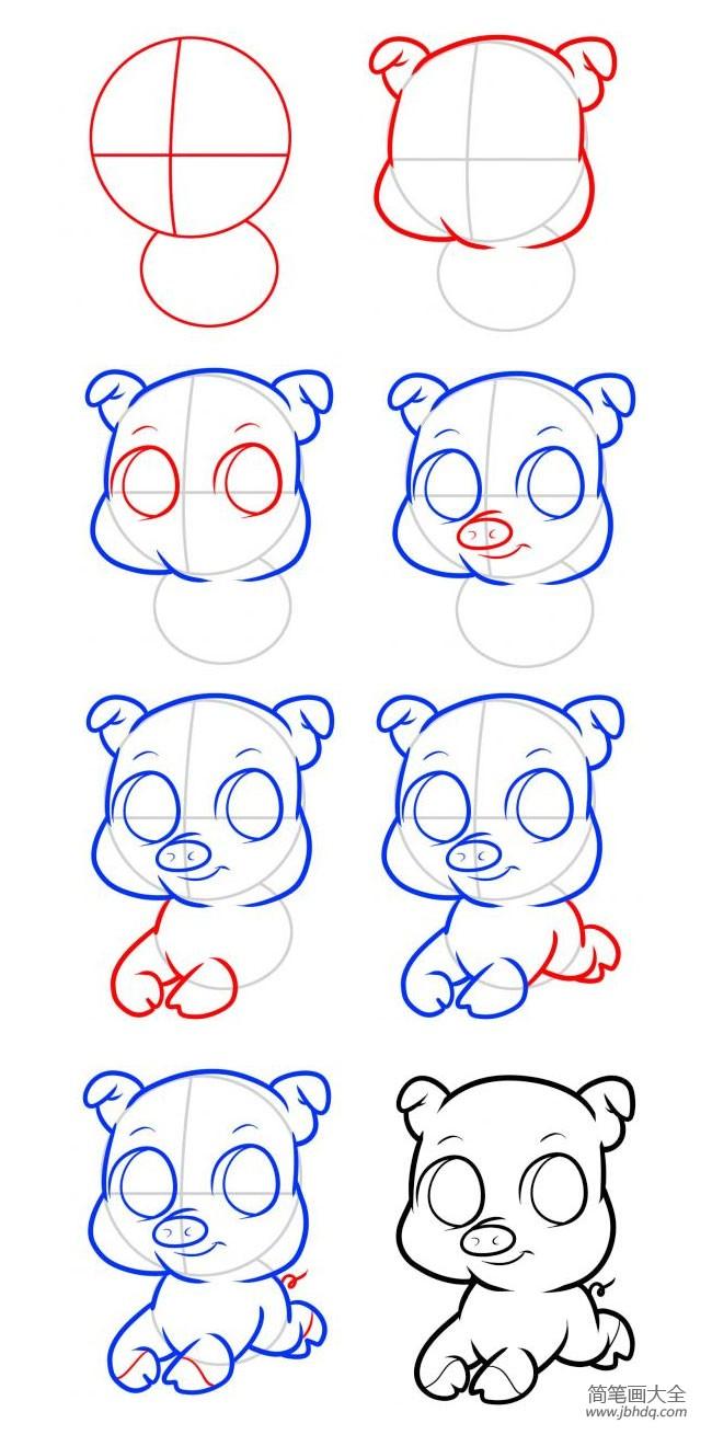 小猪简笔画图片 可爱|可爱小猪简笔画教程