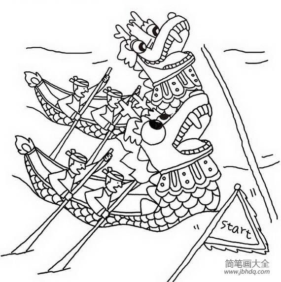 端午节简笔画素材划龙舟比赛简笔画_端午节简笔画素材,划龙舟比赛简笔画图片