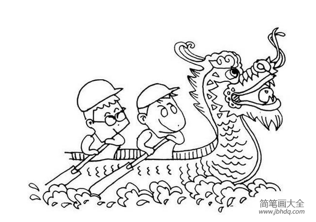 划龙舟简笔画图片大全_关于端午节划龙舟的简笔画图片