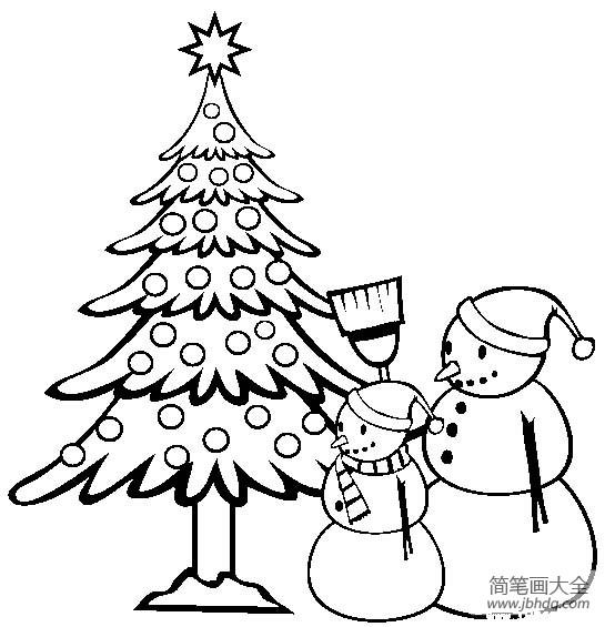 圣诞节简笔画 圣诞节和雪人简笔画图片