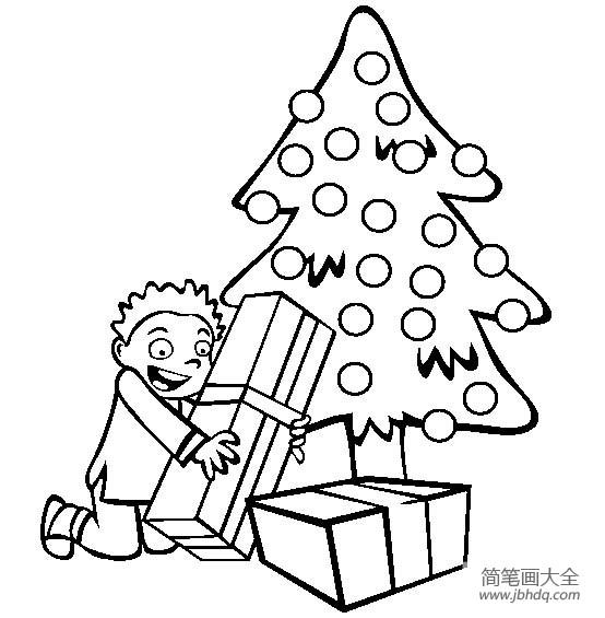 圣诞节图片 圣诞树下的礼物简笔画