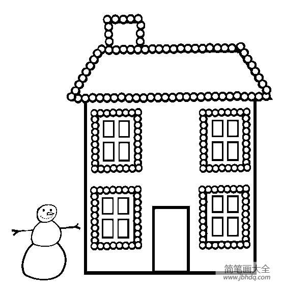 圣诞节图片 装满小灯的房子简笔画
