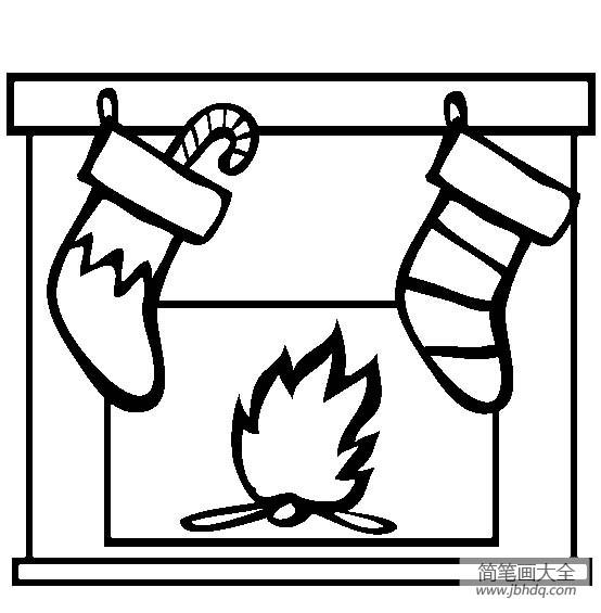圣诞节用品 圣诞袜简笔画图片