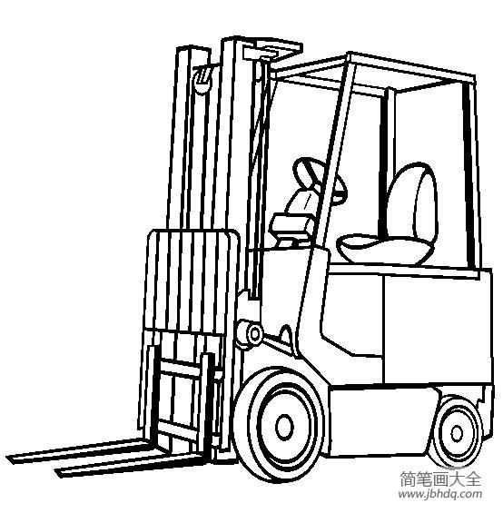 工程车图片 叉式升降装卸车简笔画图片