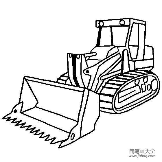 工程车图片 履带式装载机简笔画图片