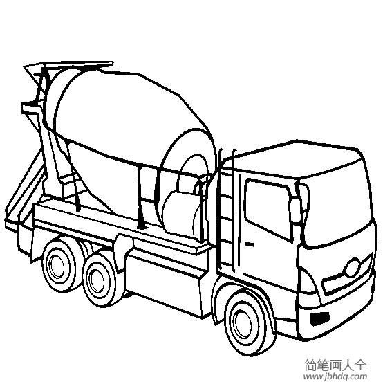 工程车图片 水泥搅拌机简笔画