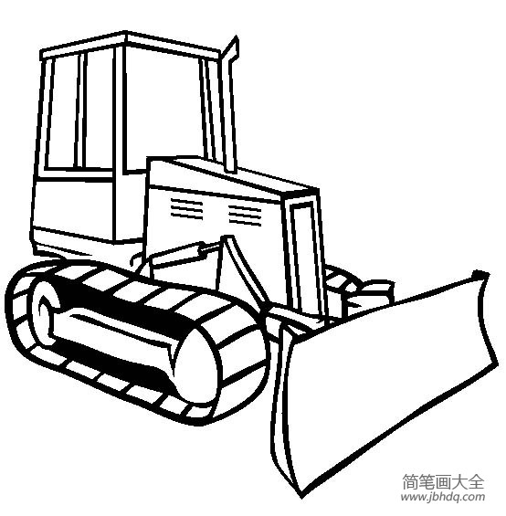 工程车图片 推土机简笔画
