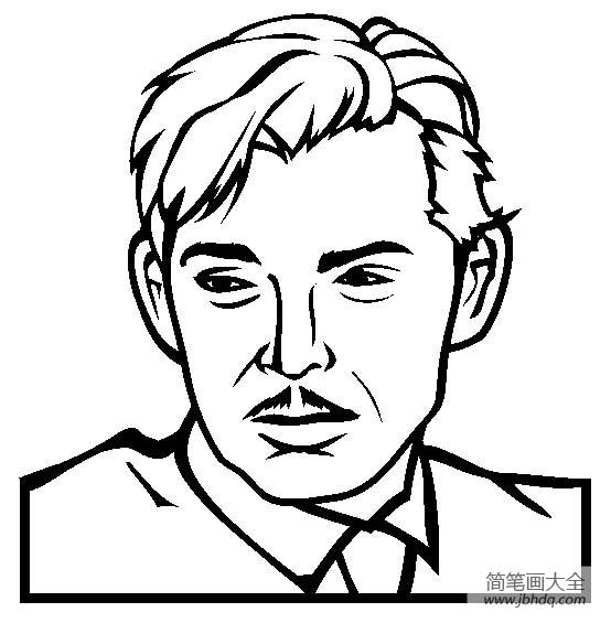 【著名建筑物简笔画图片】人物简笔画,著名演员克拉克·盖博简笔画图片