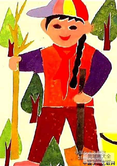 儿童画 植树