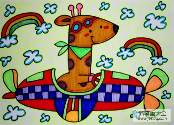 儿童画 长颈鹿会开汽车啦