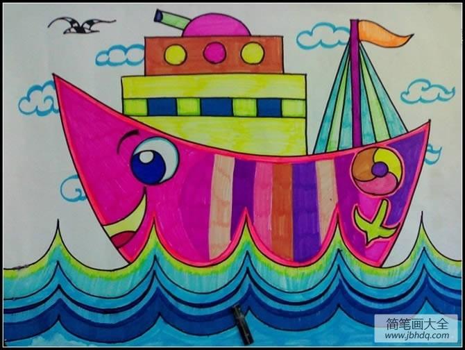 儿童画 月亮轮船
