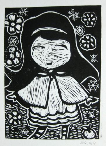 儿童画 冬姑娘