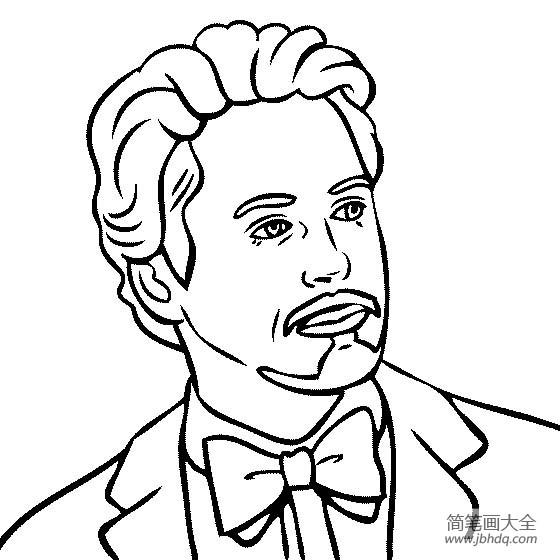 【著名建筑物简笔画图片】人物简笔画,著名演员罗伯特唐尼简笔画图片
