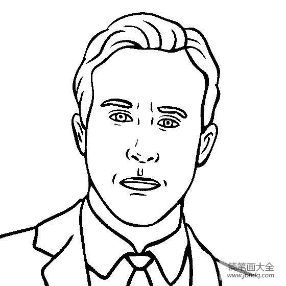 著名建筑物简笔画图片_人物简笔画,著名演员瑞恩·高斯林简笔画图片