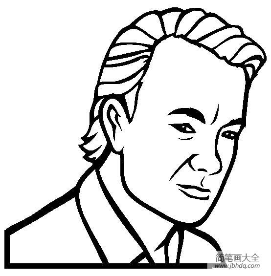 [著名建筑物简笔画图片]人物简笔画,著名演员汤姆·汉克斯简笔画图片